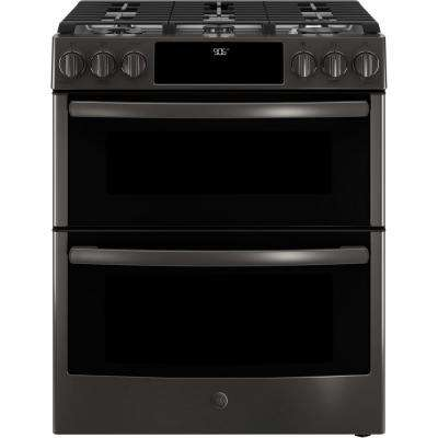 Profile 6.7 cu. ft. Slide-In Smart Gas Range with Self-Cleaning Double Oven in Black Stainless, Fingerprint Resistant