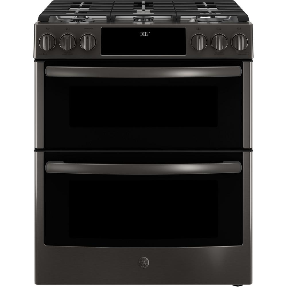 GE Profile 6.7 cu. ft. Slide-In Smart Gas Range with Self-Cleaning Double Oven and WiFi in Black Stainless, Fingerprint Resistant, Black Stainless Steel