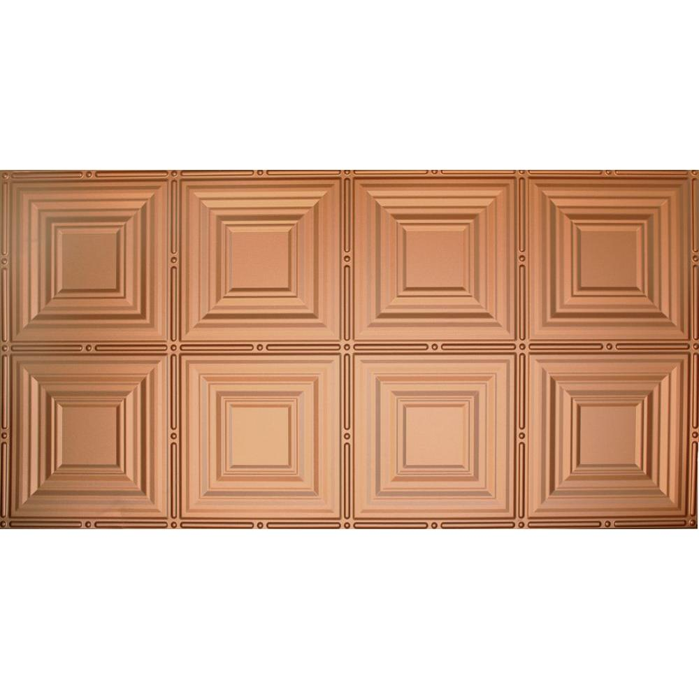 Global Specialty Products Dimensions Faux 2 ft. x 4 ft. Tin Style Ceiling and Wall Tiles in Copper