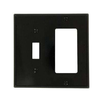 2-Gang Standard Size 1-Toggle 1-Decora Nylon Combination Wall Plate, Black