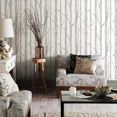 57.8 sq. ft. Cameron Off-White Trees Wallpaper