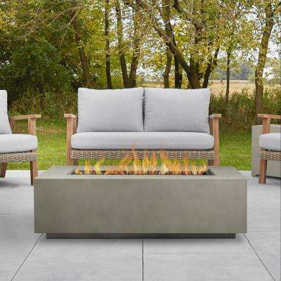 Aegean 50 in. x 15 in. Rectangle Steel Propane Fire Pit Table in Mist Gray with NG Conversion Kit