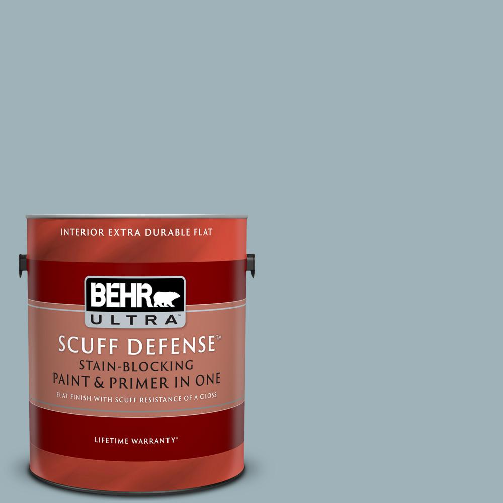 Behr Ultra 1 Gal 540e 3 Blue Fox Extra Durable Flat Interior Paint And Primer In One 172401 The Home Depot