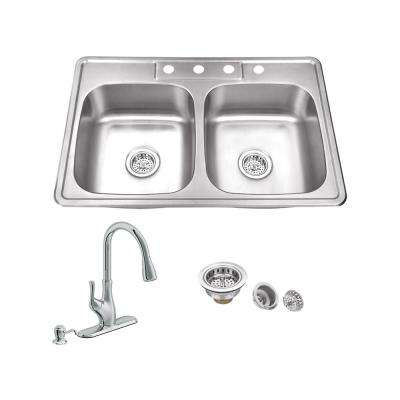 All-in-One Drop In Stainless Steel 33 in. 4-Hole 50/50 Double Bowl Kitchen Sink with Polished Chrome Kitchen Faucet
