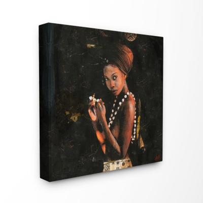 """24 in. x 24 in. """"Natural Beauty Painted Figure with Cowrie Shell Necklace"""" by Artist Marta Wiley Canvas Wall Art"""