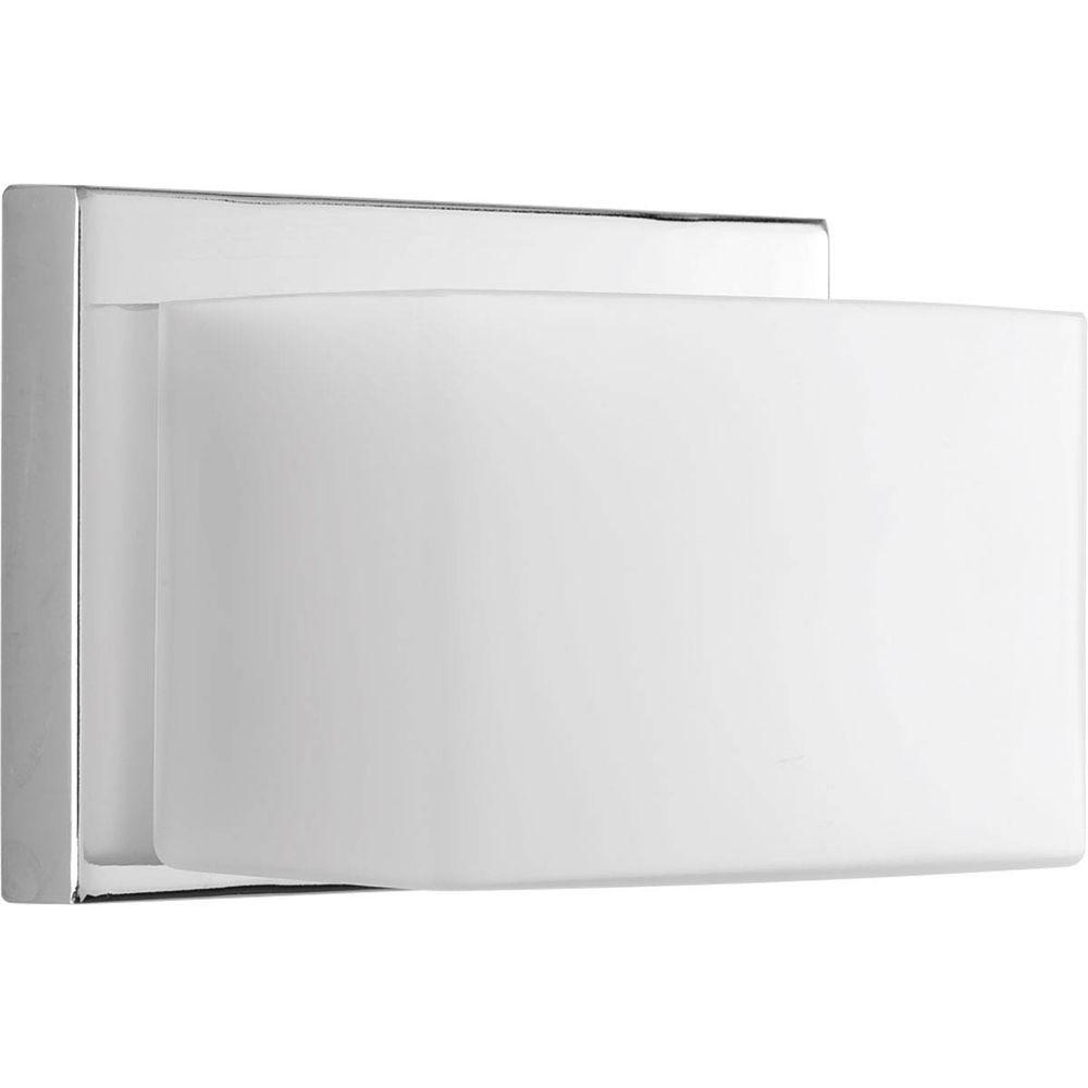 Ace Collection 1-Light Polished Chrome LED Bath Sconce with Frosted Glass