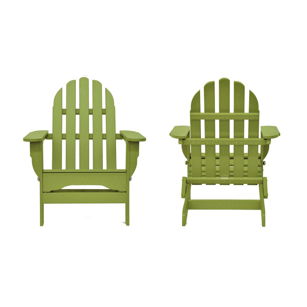 Icon Lime Recycled Plastic Folding Adirondack Chair (2-Pack)