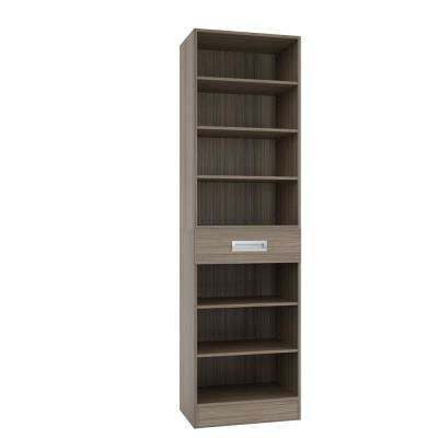 15 in. D x 24 in. W x 84 in. H Firenze Platinum Melamine with 7-Shelves and Drawer Closet System Kit
