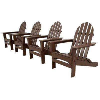 Classics Mahogany 4-Piece Folding Adirondack Patio Conversation Set