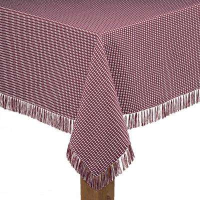 Homespun Fringed 52 in. x 52 in. Wine 100% Cotton Tablecloth