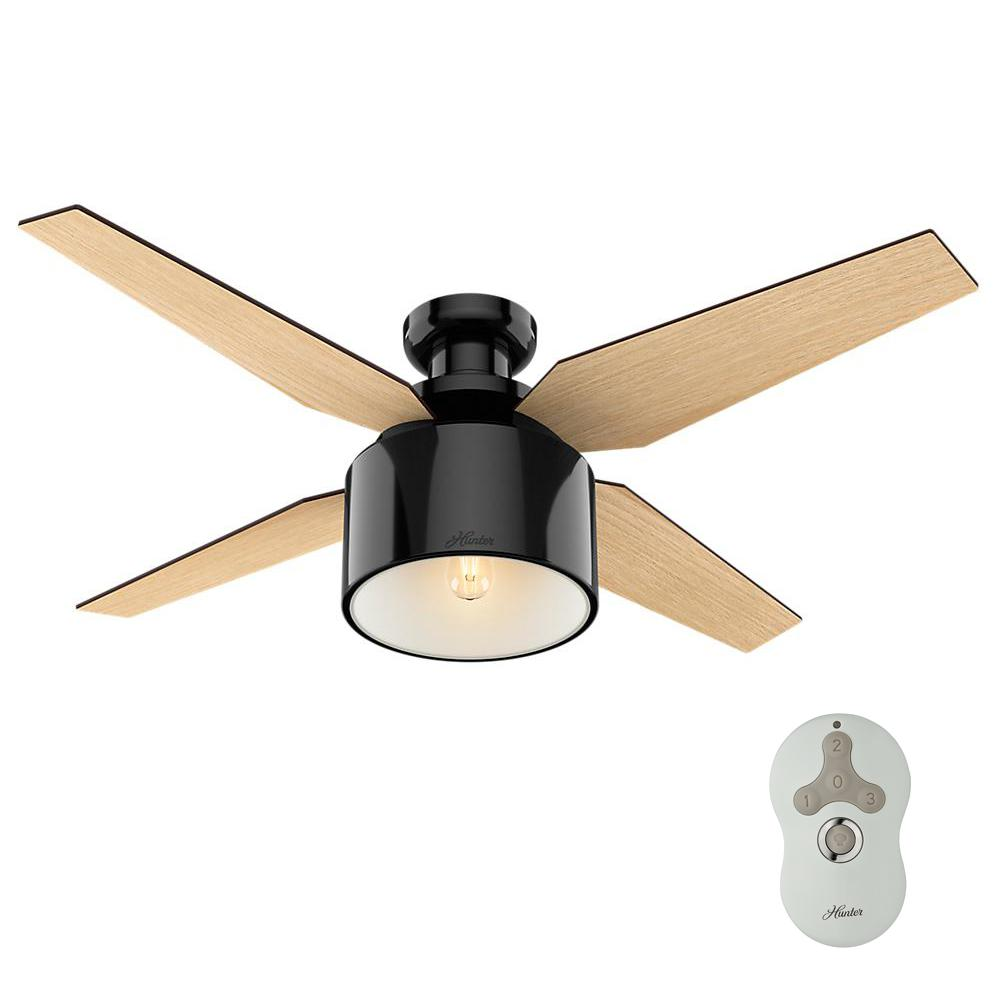 led low profile indoor gloss black ceiling fan