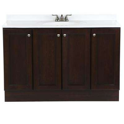Vanity Pro All-In-One 48.5 in. W Vanity in Chestnut with Cultured Marble Vanity Top in White with White Sink
