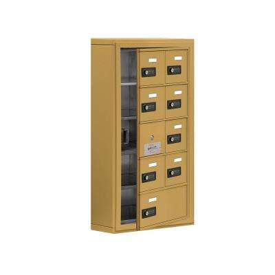 19100 Series 17.5 in. W x 31 in. H x 6.25 in. D 8 Doors Cell Phone Locker Surface Mount Resettable Lock in Gold