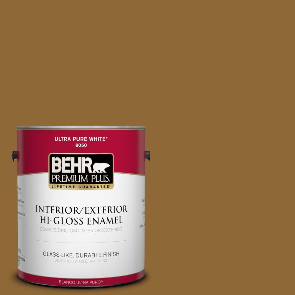 BEHR Premium Plus 1-gal. #310F-7 Carmel Woods Hi-Gloss Enamel Interior/Exterior Paint