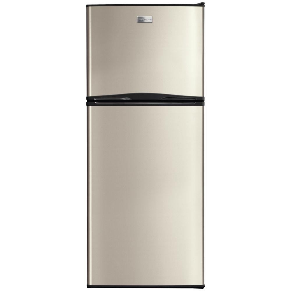 frigidaire 10 cu ft top freezer refrigerator in silver mist fftr1022qm the home depot. Black Bedroom Furniture Sets. Home Design Ideas