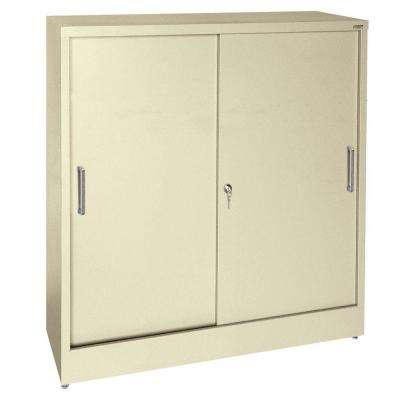 42 in. H x 36 in. W x 18 in. D Freestanding Steel Sliding Door Cabinet in Putty