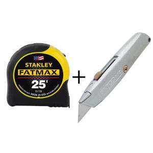Stanley FatMax 25 ft. Tape Measure with Bonus Classic Retractable Blade Knife by Stanley