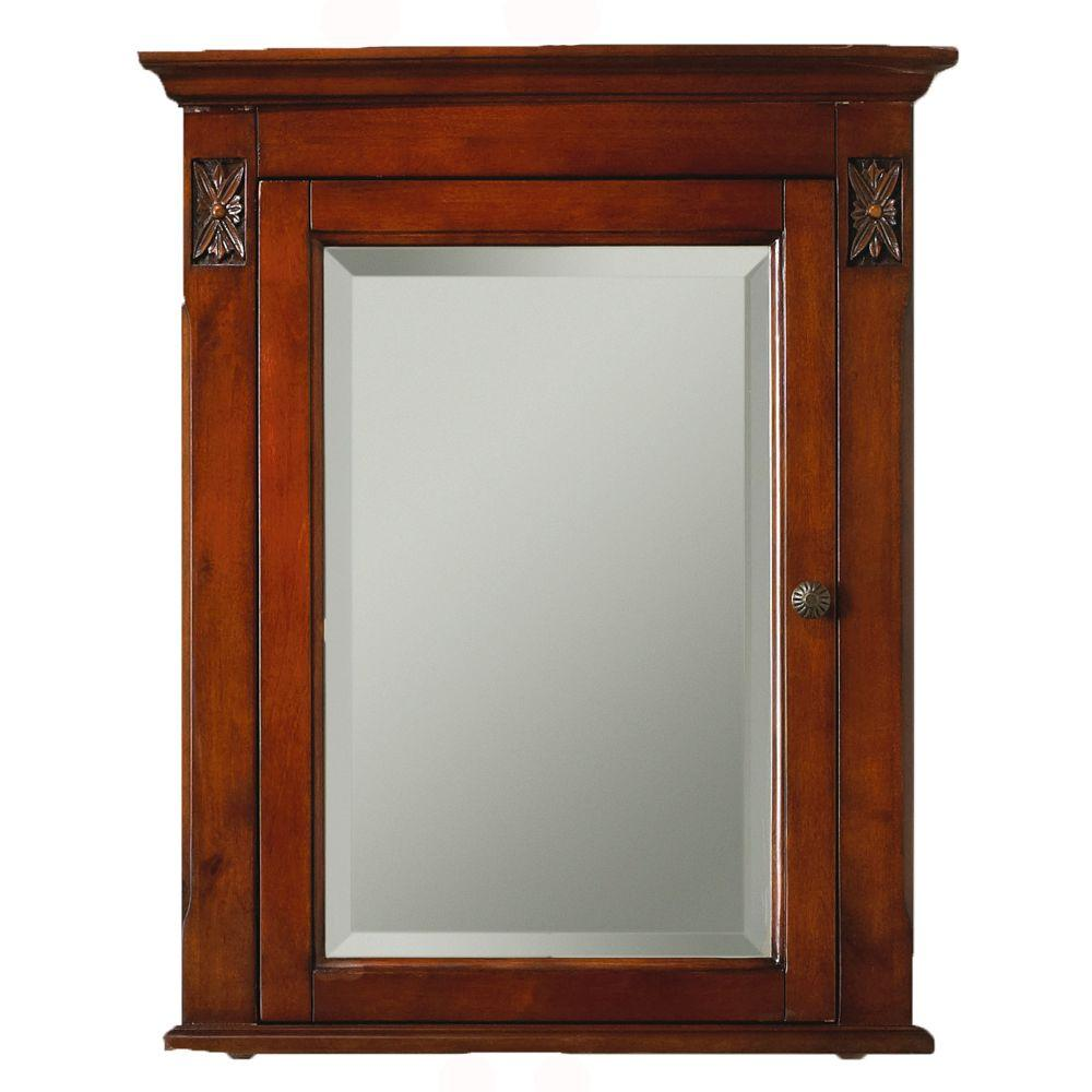Home Decorators Collection Marseille 27 in. H x 22 in. D Corner Mirror Cabinet in Chestnut