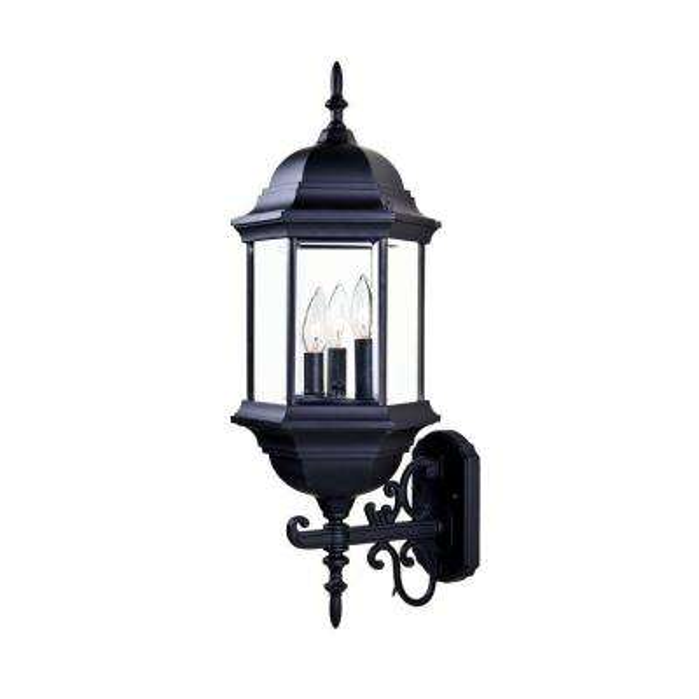 Madison Collection 3-Light Matte Black Outdoor Wall-Mount Light Fixture