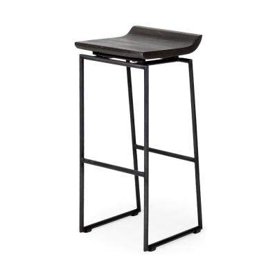 Givens 30.25 in. Seat Height Black Wood Seat Black Metal Base Stool