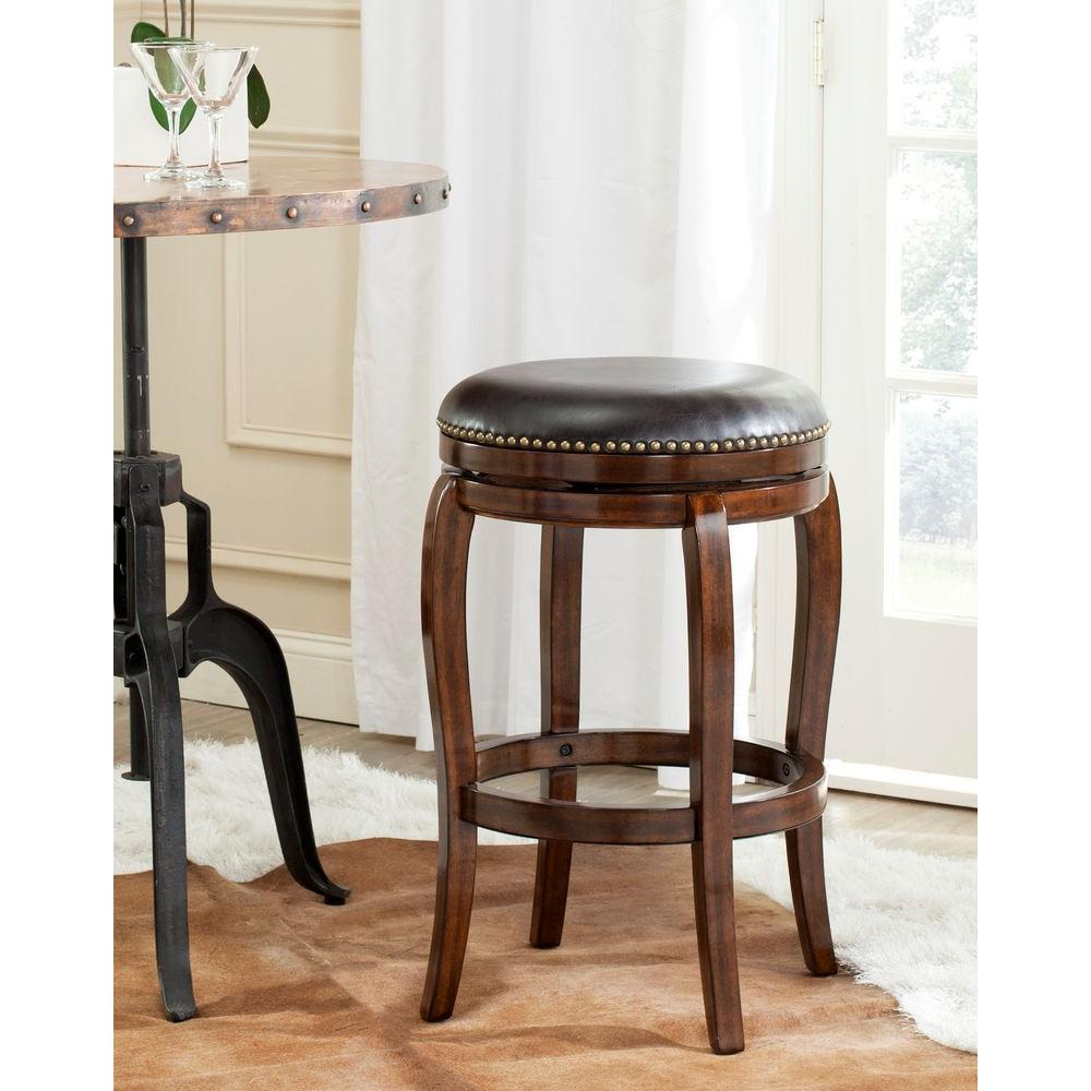 Nuncio 29 in. Espresso Swivel Cushioned Bar Stool