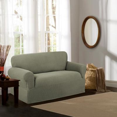 Reeves Stretch 1-Piece Moss Gray Loveseat Slipcover