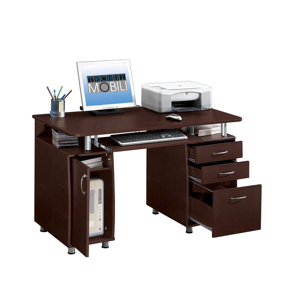 Chocolate Complete Workstation Computer Desk with Storage