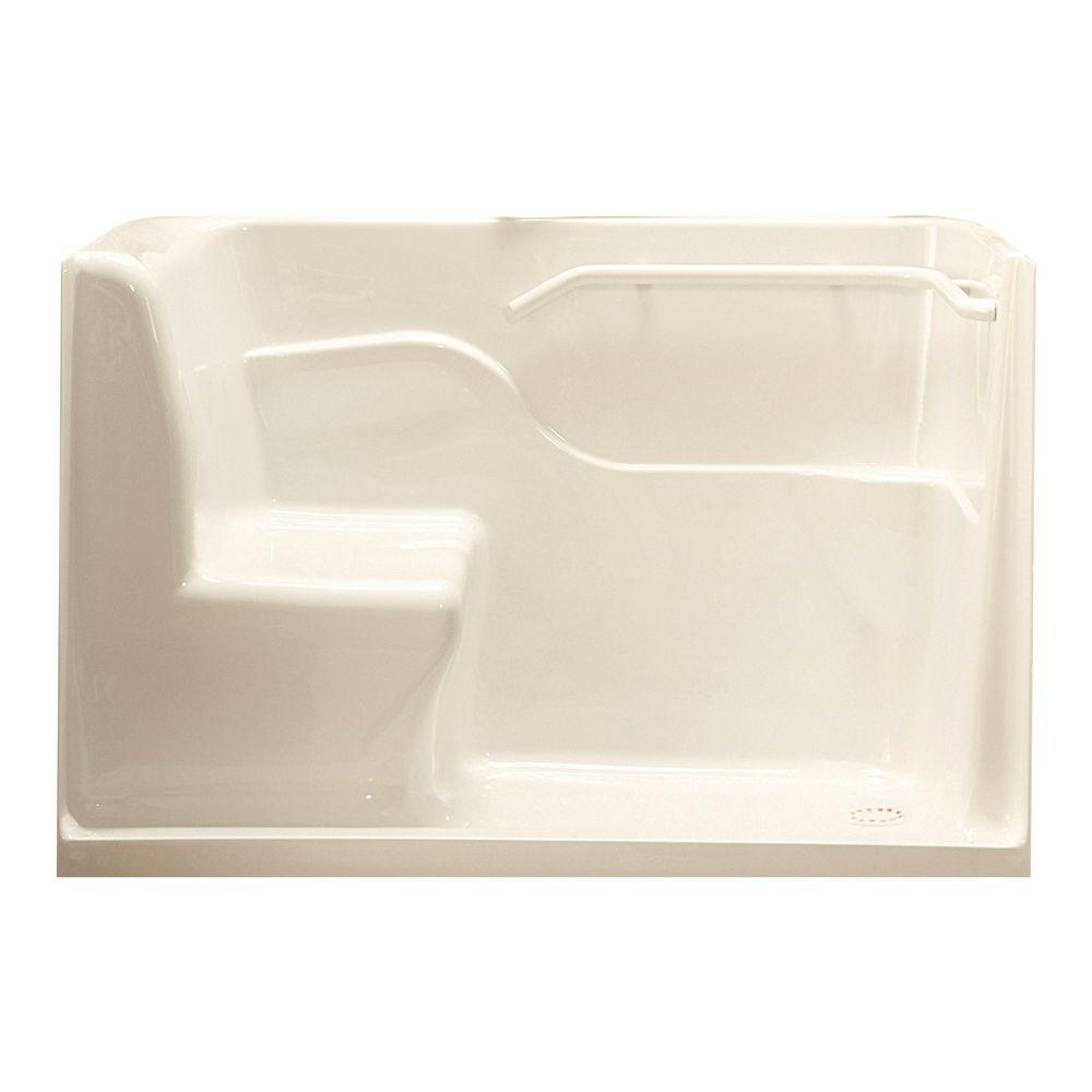 American Standard 5 ft. Right Drain Seated Shower in Linen