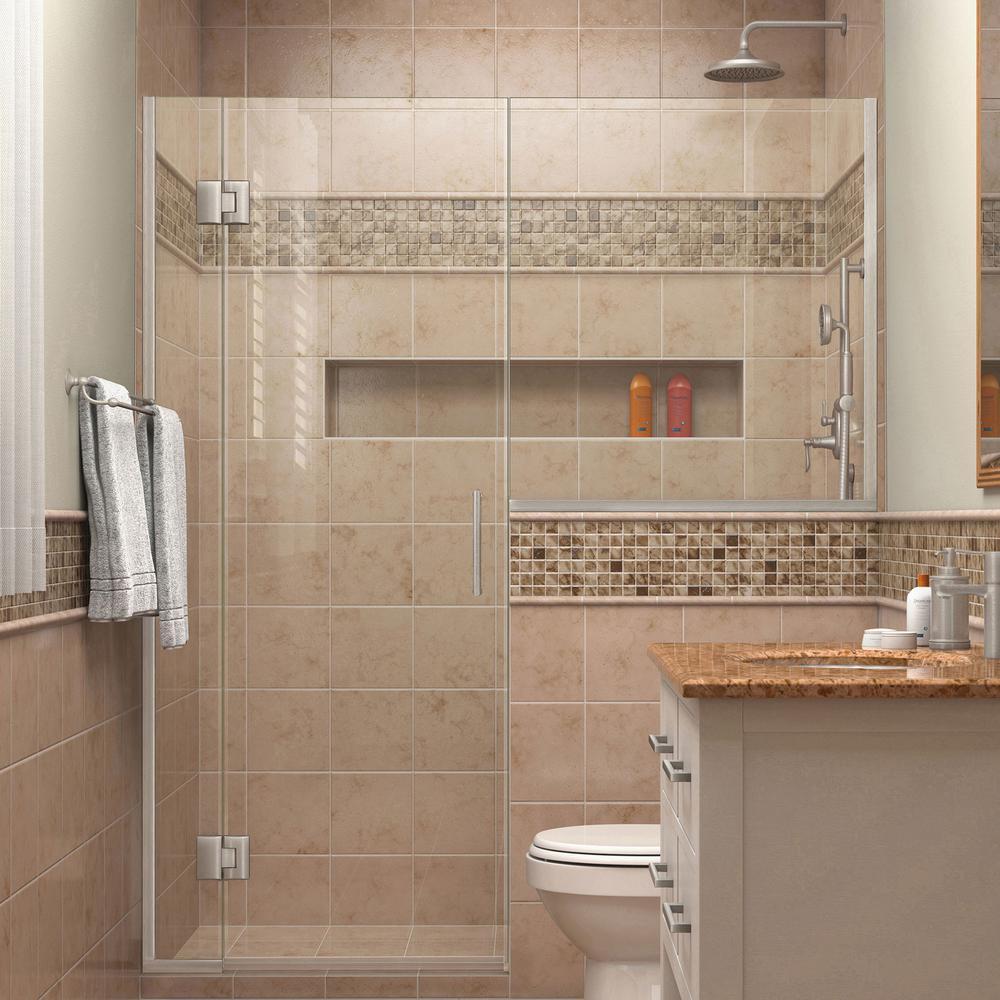 Unidoor-X 61 in. to 61-1/2 in. x 72 in. Frameless Hinged Shower Door in Brushed Nickel with Buttress Panel