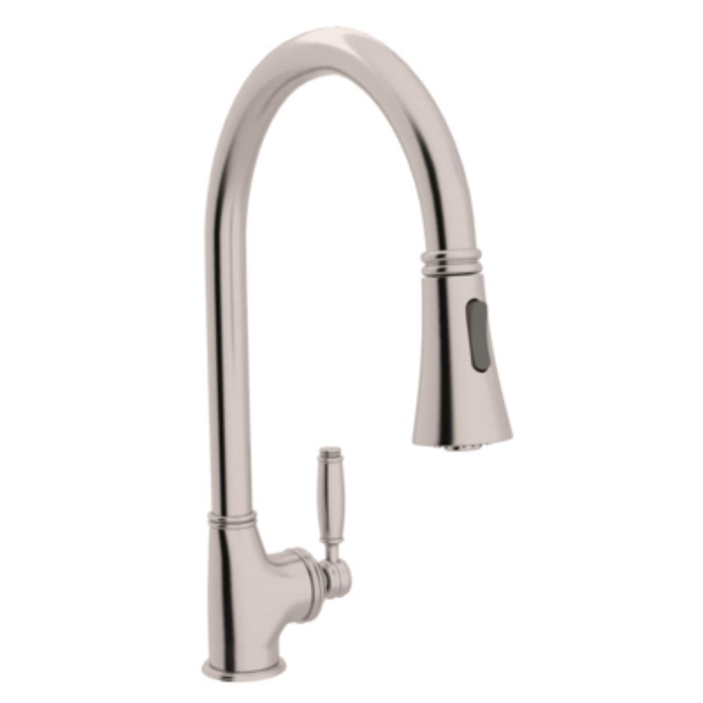 Michael Berman Single-Handle Pull-Down Sprayer Kitchen Faucet in Satin Nickel