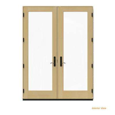 72 in. x 96 in. W-4500 White Clad Wood Right-Hand Full Lite French Patio Door w/Unfinished Interior