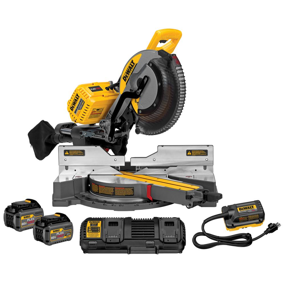 DeWalt DEWALT FLEXVOLT 120-Volt MAX Lithium-Ion Cordless Brushless 12 in. Sliding Miter Saw w/ AC Adapter, (2) Batteries 2Ah & Charger