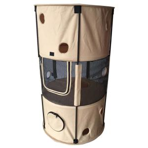 Pet Life Khaki Climbertree Circular Obstacle Play Active Travel Collapsible Travel Pet Cat House Ch1kh The Home Depot