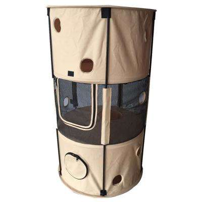 Khaki Climbertree Circular Obstacle Play-Active Travel Collapsible Travel Pet Cat House