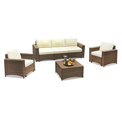 Studio Shine 4 Piece Wicker Outdoor Sofa Conversation Set Sofa Armchair And Coffee Table With Beige Color Cushions Sw1841set4sf The Home Depot