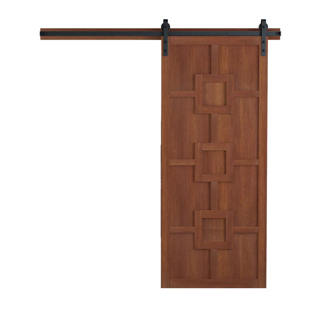36 in. x 84 in. Mod Squad Terrace Wood Barn Door with Sliding Door Hardware Kit