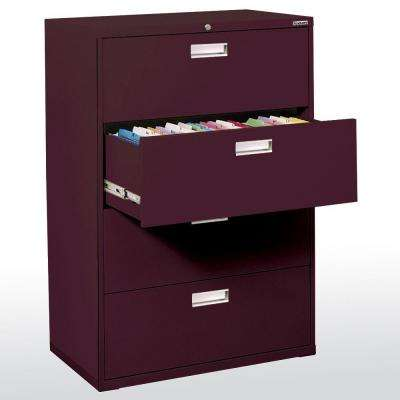 600 Series 53 in. H x 42 in. W x 19 in. D 4-Drawer Lateral File Cabinet in Burgundy