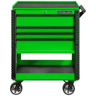 Professional 33 in. Deluxe 4-Drawer Utility Tool Cart with Bumpers in Green