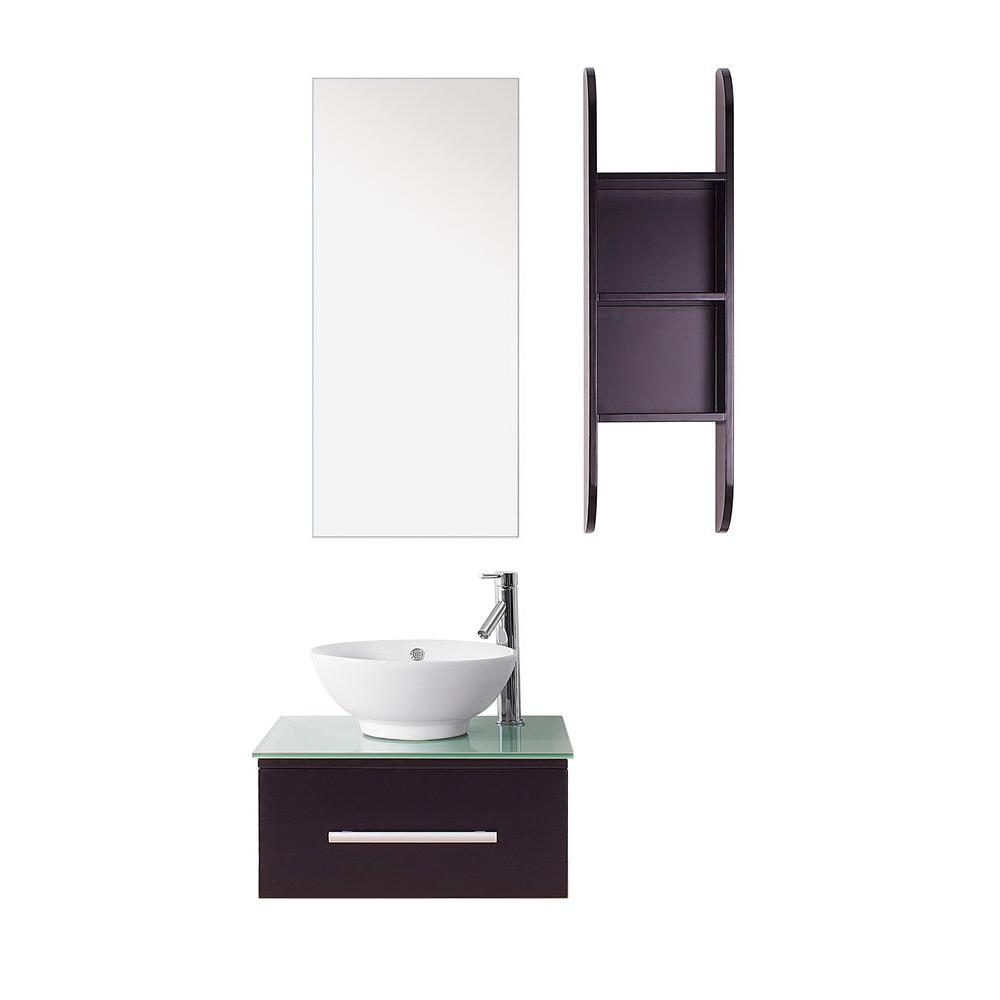 Virtu USA Primo 24 in. W x 22 in. D Vanity in Espresso with Glass Vanity Top in Aqua with White Basin and Mirror