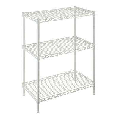 24 in. W x 30.5 in. H x 14 in. D 3-Shelf Steel Wire Ivory Finish Shelving Unit