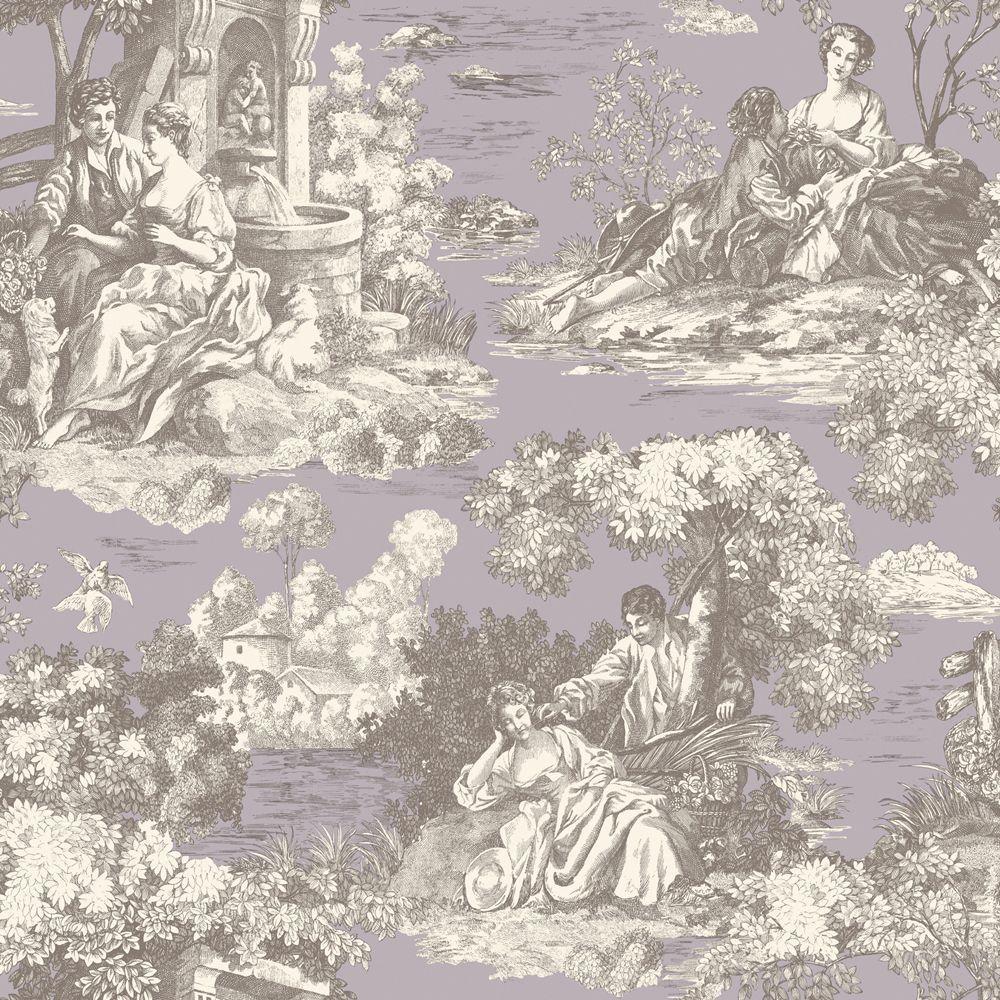 The Wallpaper Company 56 sq. ft. Purple Pastel Romantic Toile Wallpaper-DISCONTINUED