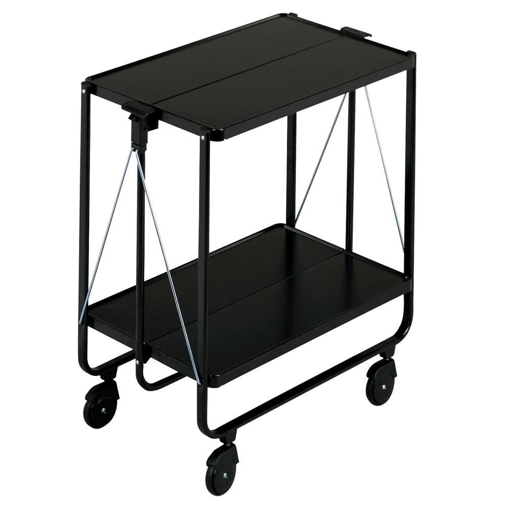 Wheeled Metal Serving Cart in Black