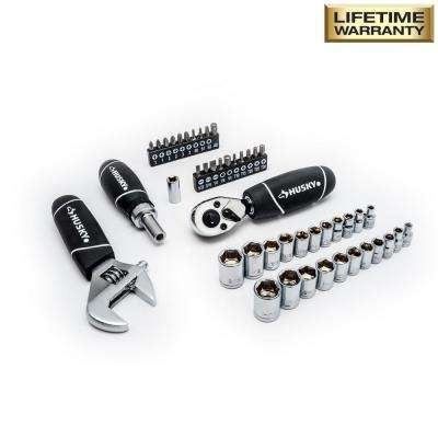 1/4 in. and 3/8 in. Stubby Ratchet and Socket Set (46-Piece)