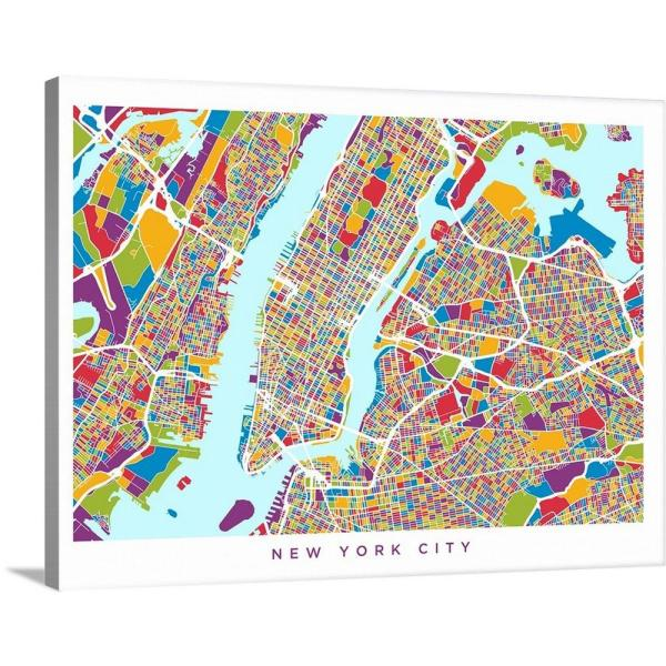 Map Of Cities In New York.40 In X 30 In New York City Street Map By Michael Tompsett Canvas Wall Art