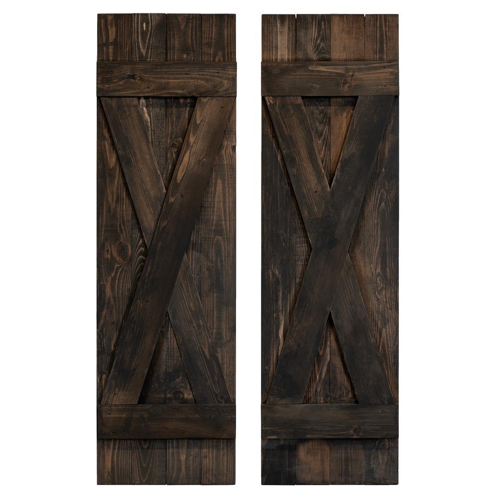 14 in. x 60 in. Cedar Board and Batten X-Shutters Pair Slate Black
