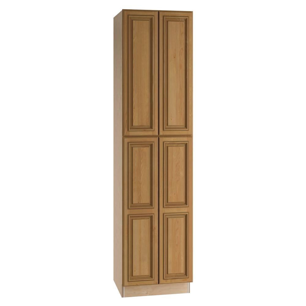 Home Decorators Collection Clevedon Assembled 24 x 90 x 24 in. Pantry/Utility 2 Double Door & 4 Rollout Trays Kitchen Cabinet in Toffee Glaze