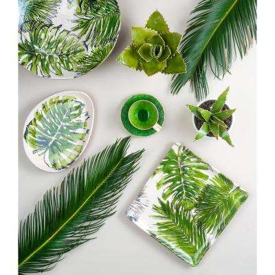 Palmetto 1-Piece White Ceramic Square Platter