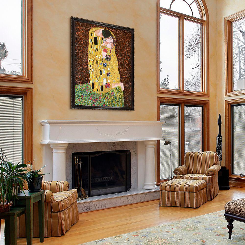 LA PASTICHE 51 in. x 39 in. The Kiss (Full View) with La Scala Frame by Gustav Klimt Framed Wall Art, Multi-Colored was $1493.0 now $703.31 (53.0% off)