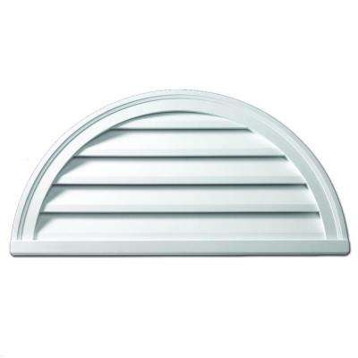 32 in. x 16 in. x 2 in. Polyurethane Functional Half Round Louver Gable Vent