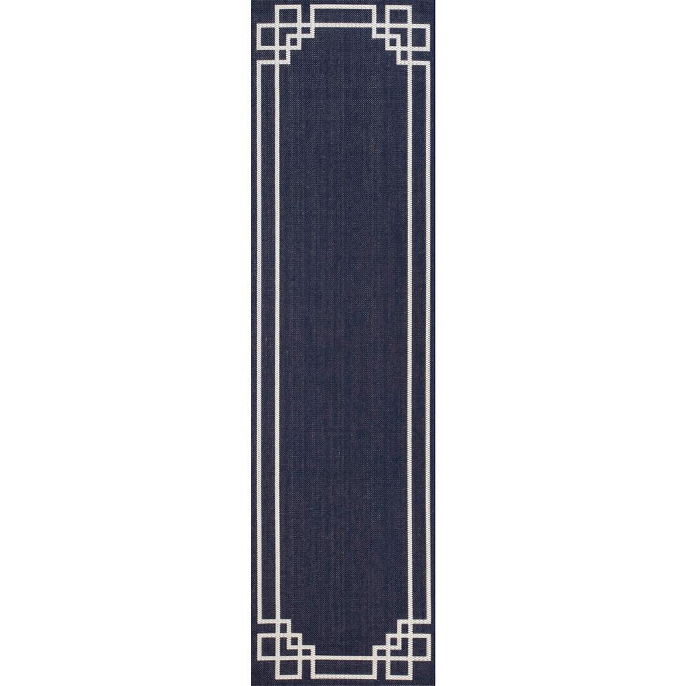 Lyra Dark Blue 2 ft. x 7 ft. Indoor/Outdoor Runner Rug